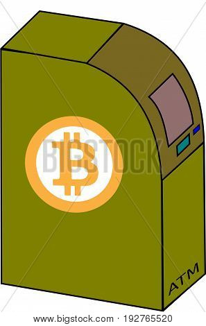 ATM with a crypto currency sign Bitcoin.