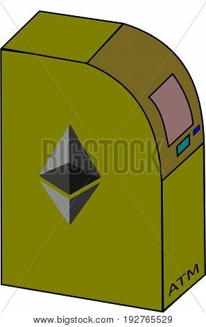 ATM with a crypto currency sign Ethereum.