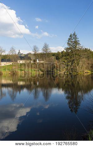 Monastery And Lake Near Monschau, Germany