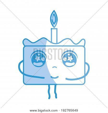 silhouette kawaii cute tender cake dessert vector illustration
