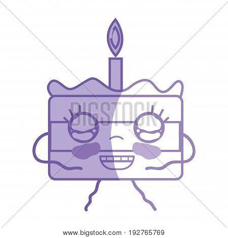 silhouette kawaii cute happy cake dessert vector illustration