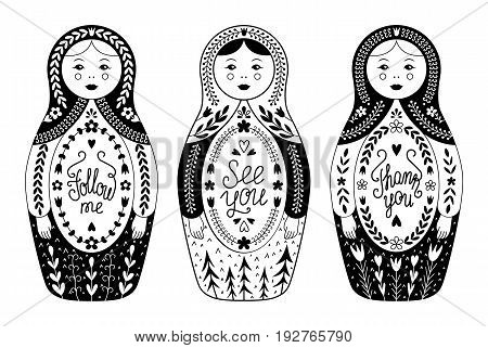 Russian traditional nested doll vector set. Three vintage nesting babushka with lettering inscription. EPS 10 illustration isolated on white background.