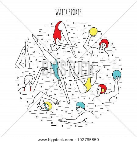 Water sport vector illustration. Round composition with water polo players divers synchro-swimmers. EPS 10 isolated on white.