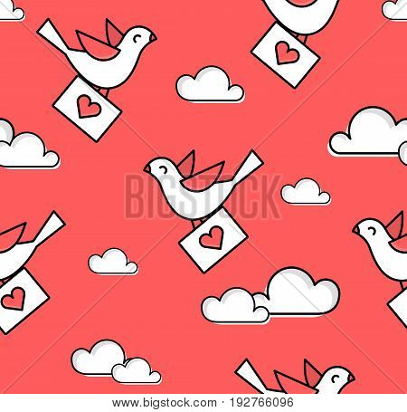 Valentines Day pattern with dove and clouds in the sky. Ornament for textile and wrapping. Vector background.
