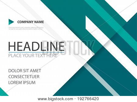 Green triangle business brochure flyer cover vector design Leaflet advertising abstract background Modern poster magazine layout template Horizontal annual report for presentation.