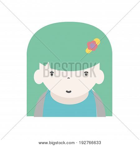 beauty girl with hairstyle to kawaii avatar vector illustration
