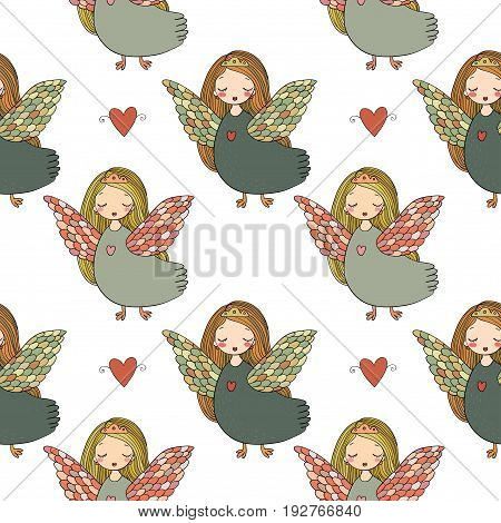 Pattern with girl Sirin. Mythological bird. Russian folklore. Vector illustration