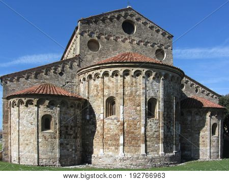 Roman Catholic basilica church of San Pietro Apostolo situated near Pisa at San Piero a Grado Tuscany Italy