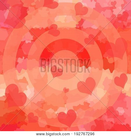 Love background with romantic red hearts and target