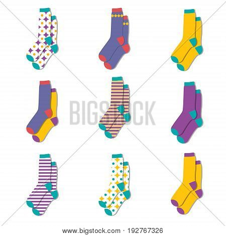 Vector illustration set collection flat design colorful socks isolated on white background. Textile warm clothes socks pair cute decoration wool winter clothing. Sport season collection.