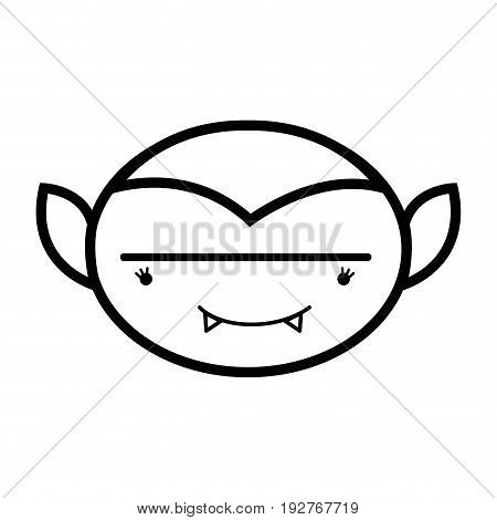 line man face vampiere with fangs vector illustration