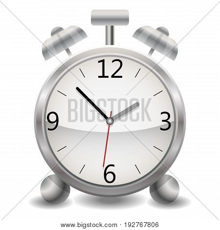 A metallic mechanical realistic alarm clock, a clock showing fifty-three minutes after one o'clock in the afternoon.