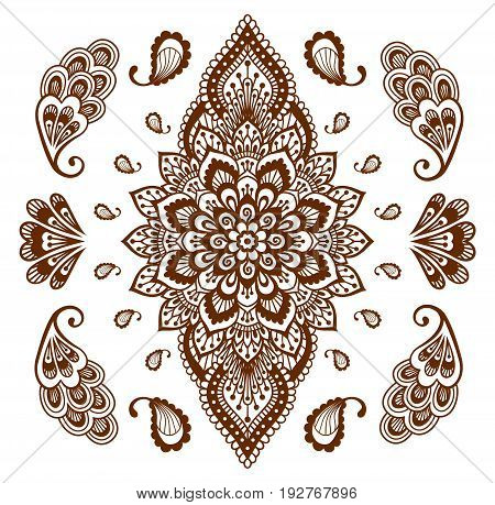 Mehendi ornament collection. Indian henna tattoo set. Oriental style hand-drawn decorative design templates. EPS 10 vector illustration isolated on white.