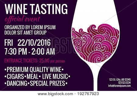 Wine tasting party flyer. Stylized glass of red drink with swirls inside. Degustation invitation. EPS 10 vector design template.
