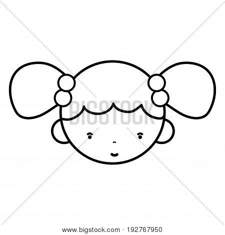 line beauty girl face with hairstyle to kawaii avatar vector illustration