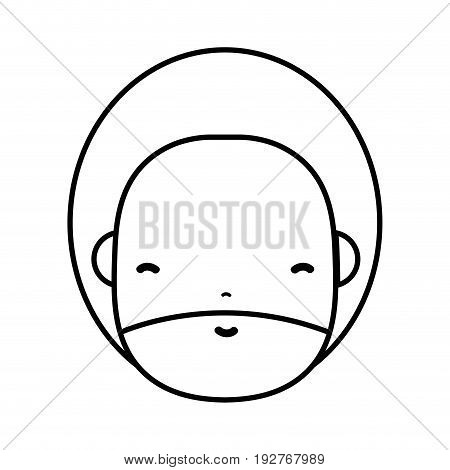 line man face with beard and hairstyle to avatar kawaii vector illustration