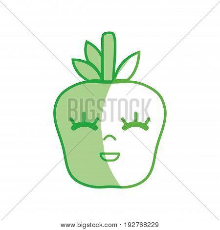 silhouette kawaii cute happy apple fruit vector illustration