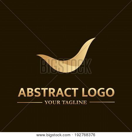 Abstract vector logo template in gold color. Illustration of wave. Can be used for branding for your business company.