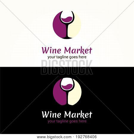 Vector logotype for alcohol market on white and black background. Can be used for the menu bar restaurant wine shop. Illustration of of a glass of wine. Winery label.