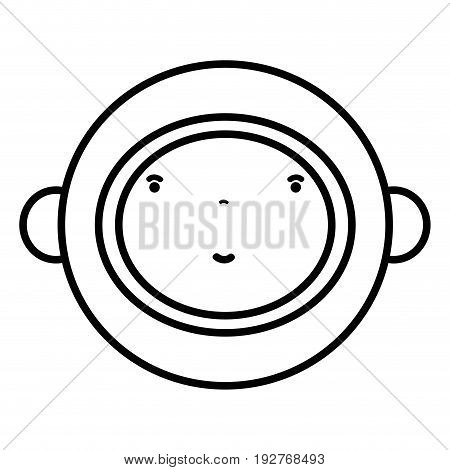 line nice astronaut face with equipment to kawaii avatar vector illustration