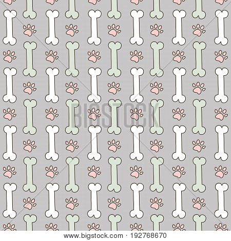 Vector seamless pattern for zoo shop. Background with bones and paws. White and mint bones and pink traces of dogs on a gray background. Veterinary backdrop. Can be used for wrapping paper web or design of banners. EPS10.