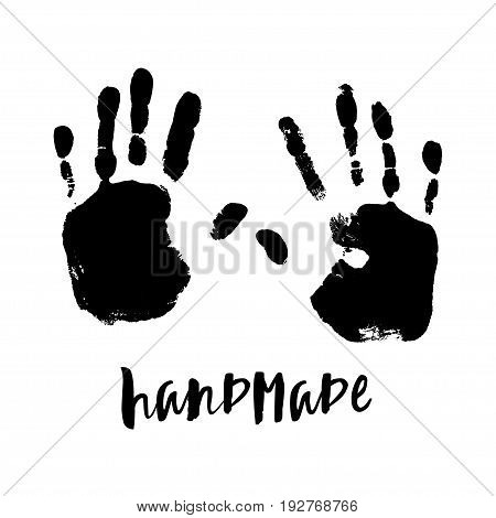 Isolated illustration on white background. Black imprint of a human hand. Ink stamp with his fingers. Vector. EPS10. Handmade logo.