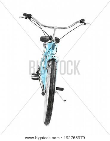Modern two-wheeled bicycle on white background