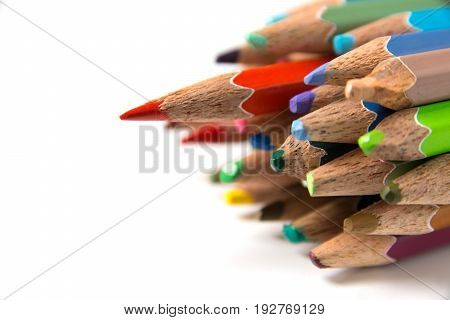 Color pencils isolated on white background close up with Clipping path.Color pencils for drawing.
