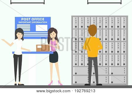 Post office interior. Delivering and sending the mails and parcels illustrations.