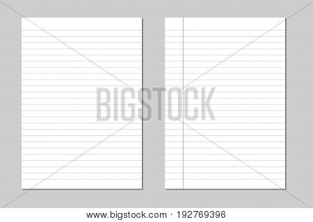 Set of vector sheets of lined paper with border isolated on a gray background