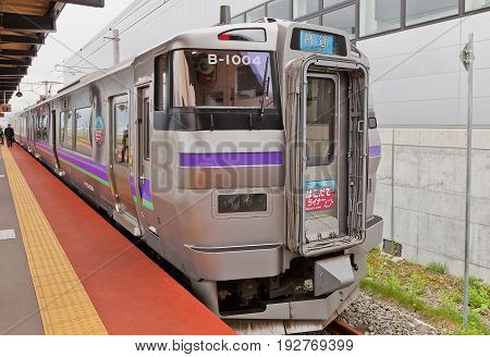 HAKODATE JAPAN - MAY 24 2017: KuHa 733-2004 car of B-1004 733-1000 type Hakodate Liner train on Shin-Hakodate-Hokuto station Japan. Electric multiple unit train operated by JR Hokkaido since 2016