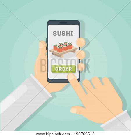 Ordering sushi through phone. Hands holding smartphone with online order.