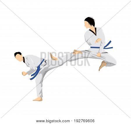 Taekwondo sport couple. People in uniform fighting.