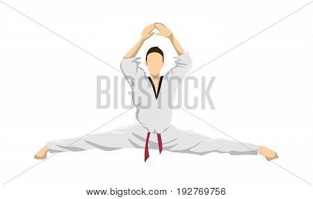 Taekwondo sport athlete. Man in uniform posing. Leg split.