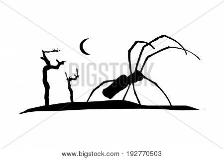Dark illustration silhouette graphic with giant spider at nightscape scene