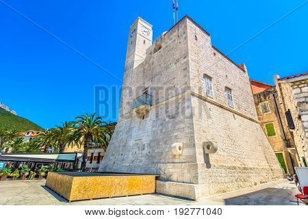 Scenic view at old historic monument in Komiza place, Island Vis, croatian travel destinations.