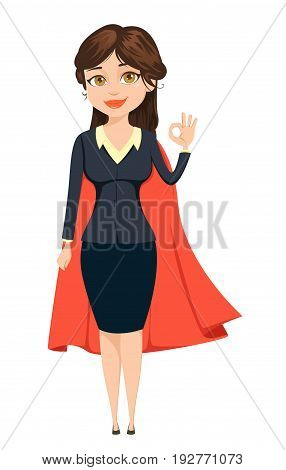 Businesswoman in a red cloak showing OK sign like super woman. She will manage everything. Cute cartoon character. Vector illustration isolated on white background