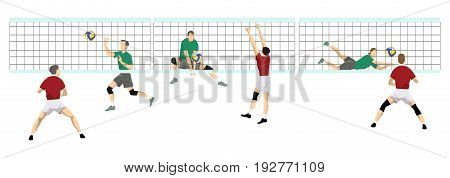 Volleyball sport set. Isolated players with net on white background.