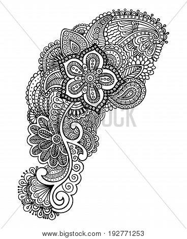 Hand-drawn mehendi design. Eastern style ornamental pattern.EPS 10 vector illustration. Isolated on white.