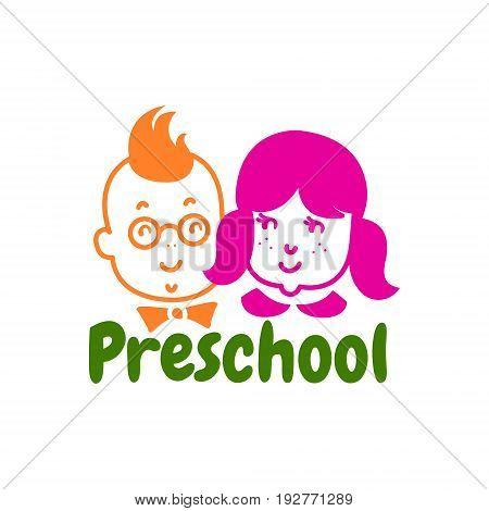 Preschool logo design. Children studio logotype concept. EPS 10 vector template. Isolated on white.
