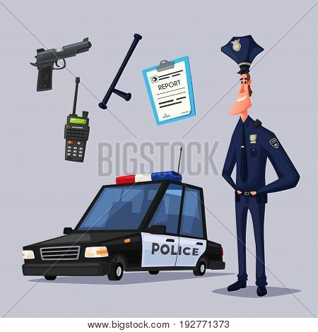 Policeman character. Cartoon vector illustration. Funny cop. Police car. Public safety transport