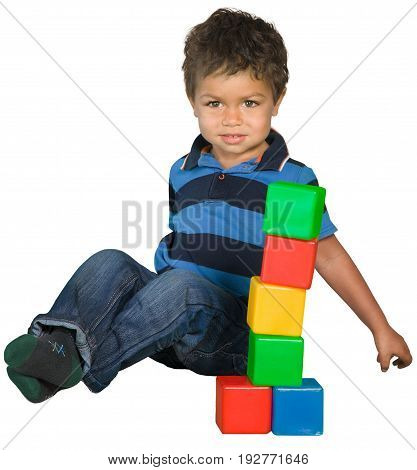Sitting little boy with toy blocks arms outstretched white