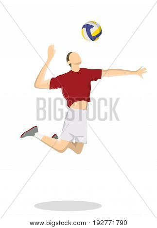 Isolated volleyball player on white background. Man in uniform with ball.