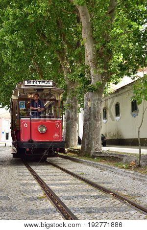 Sintra Street Scene With Old Red Tram