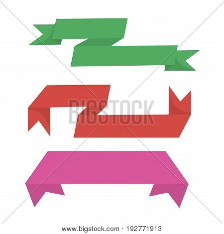 Twisted ribbons in green, red and violet colors isolated on white. Vector colorful poster in flat design of thing clothing lines with sharp endings for decorating gift boxes or other presents