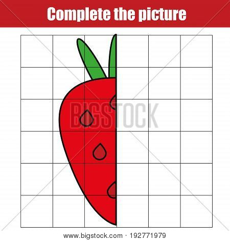 Copy by grid. Complete the picture children educational game, coloring page. Kids activity sheet with strawberry. Printable drawing worksheet