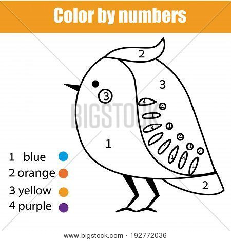 Coloring page with bird. Color by numbers educational children game, drawing kids activity, printable sheet
