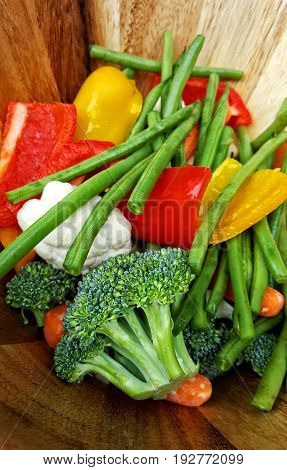 Medley of cut fresh and raw vegetables