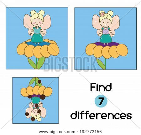 Find the differences educational children game with answer. Kids activity sheet. Vector illustration with fairy