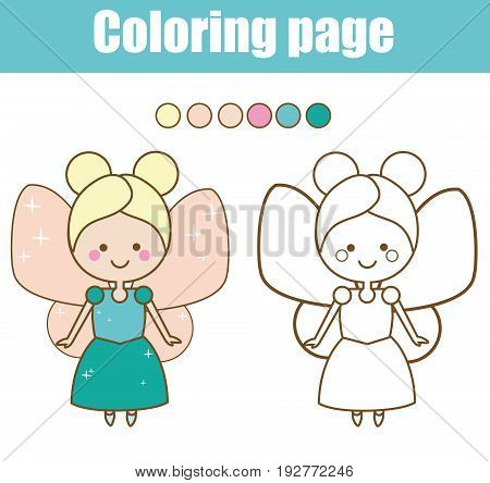 Coloring page with cute fairy character. Color the picture. Educational children game, drawing kids activity, printable sheet.